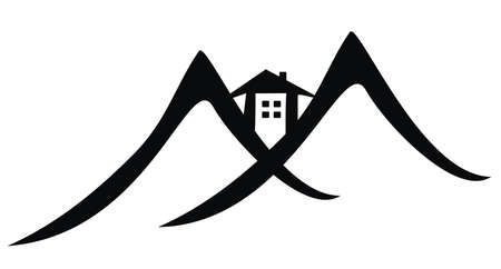 mountain hotel, vector web icon, black silhouette Illustration