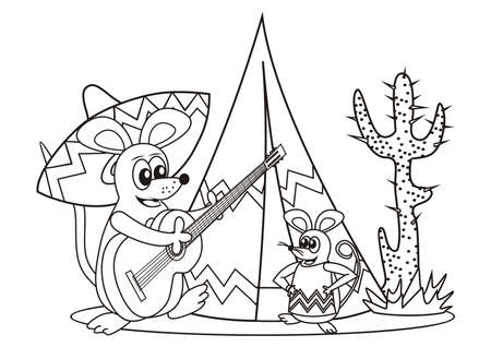 Mice and guitar, coloring book for children, black and white, vector illustration