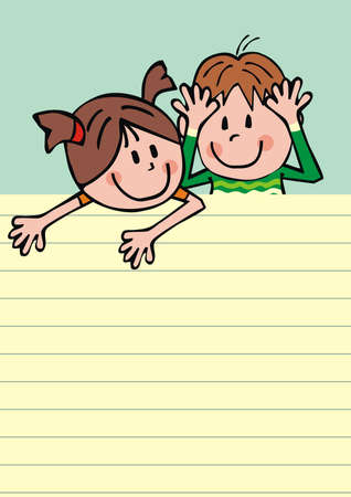 Smiling kids, girl and boy and llined paper, conceptual vector illustration