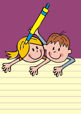 Two school kids, girl and boy with pen, humorous conceptual vector illustration Illustration