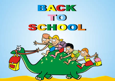 Back to school, kids on dinosaur, funny vector illustration