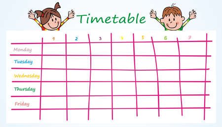 School Timetable, students, funny vector illustration