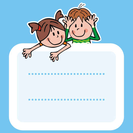 Label, boy and girl, vector icon Illustration