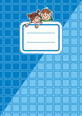 workbook with name tag, vector icon