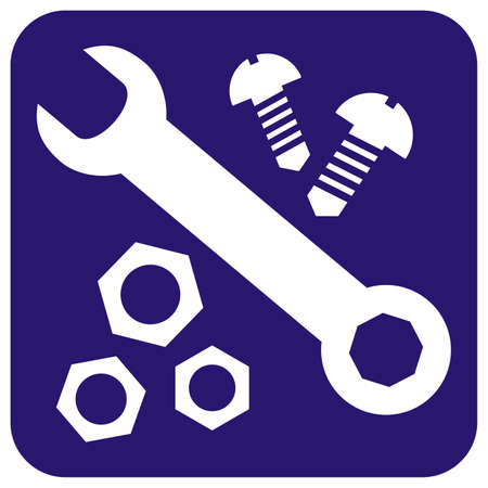 Hardware, set of nut, wrench and screw, white vector icon on blue background