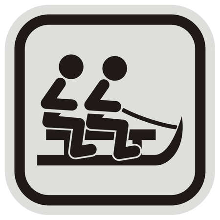 toboggan run, black silhouette of sled with two people at gray and black frame, vector icon