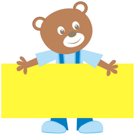 Bear and banner, cute color vector illustration