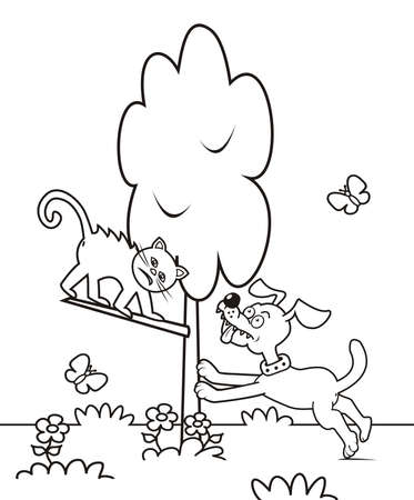 The dog arrives at the cat in the tree. Funny vector illustration. Coloring book for children.