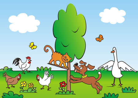 Group of animals in the garden, dog, cat, hen, rooster, goose and butterfly, humorous vector illustration Vettoriali