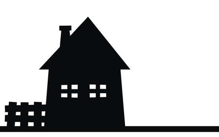 House with fence, black silhouette, vector icon conceptual icon