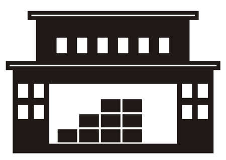 central warehouse with office, black silhouette, vector icon Ilustração