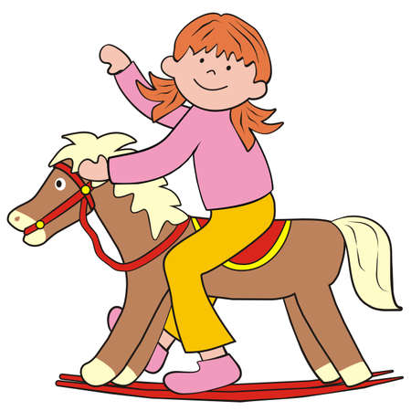 Girl on a rocking horse. Vector cute illustration, color picture on white background.
