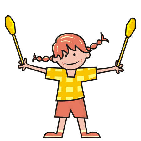 girl and gymnastic clubs, vector illustration