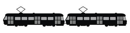 tram set, black silhouette, vector icon