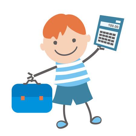 School boy with school bag and calculator, funny vector illustration