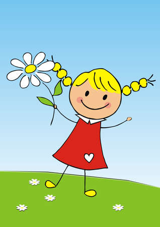 Valentine's day or Mother's day, girl with flower, cute vector illustration, blue background Иллюстрация