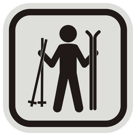cross-country skier, person with ski poles and skies, black silhouette, vector icon, gray and black frame