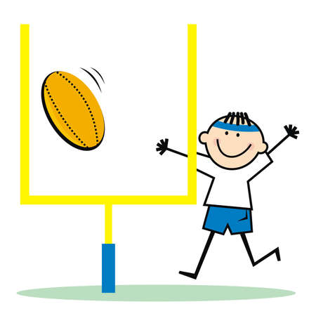 American football, the ball falls into the goal, vector humorous illustration. Boy with ball.