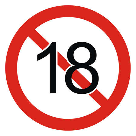 18 years limitation sign on white background, red circle frame, vector icon