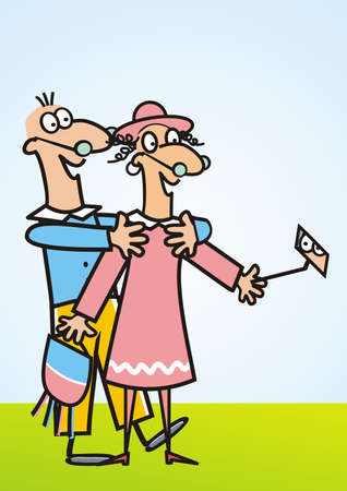 lady and man, senior couple, humorous vector illustration, blue background