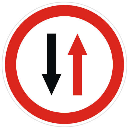 Road sign giving priority to traffic traveling in one direction, vector, red circle frame.