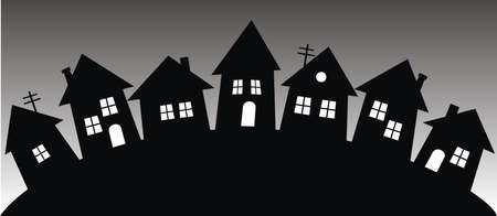 black silhouette of houses, village, vector illustration, conceptual banner Vector Illustratie