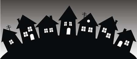 black silhouette of houses, village, vector illustration, conceptual banner