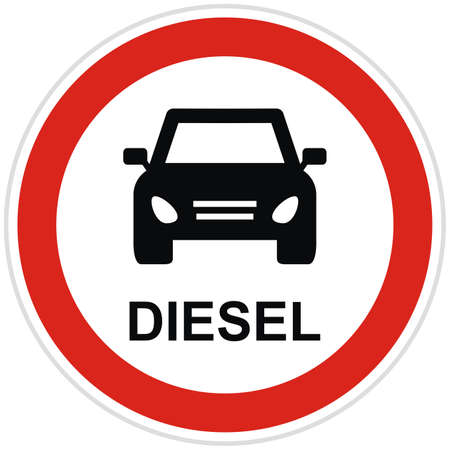 Diesel ban - traffic sign is prohibiting to use vehicles and cars with diesel engine, vector icon Vektorové ilustrace