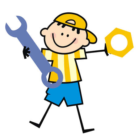 boy and wrench with nut, tool, funny vector illustration