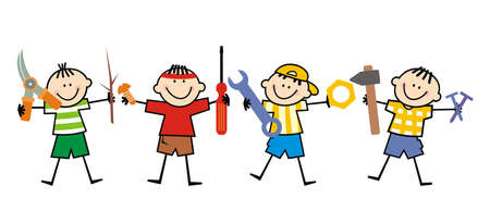 Group of boys with tools, funny vector illustration