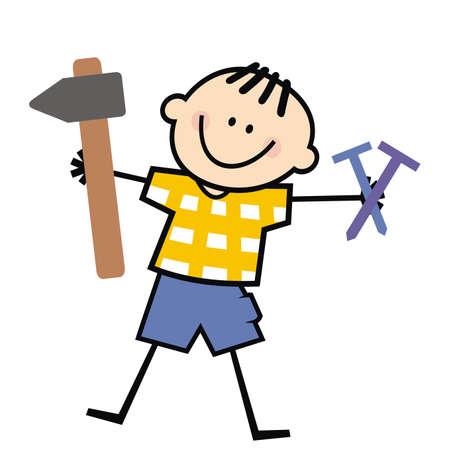boy and hammer with nails, tool, funny vector illustration Ilustración de vector