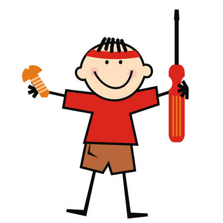 Boy with screwdriver and screw. Funny vector illustration.