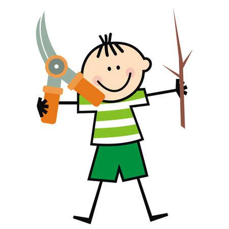 boy and garden shear, tool, funny vector illustration