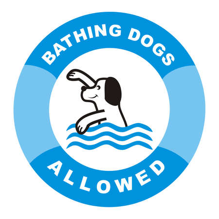 Bathing dogs allowed. Vector sign. Blue circle frame. Vetores