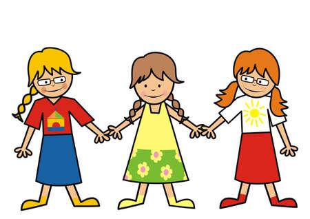 Three little girls, friends, cute vector conceptual illustration 矢量图像