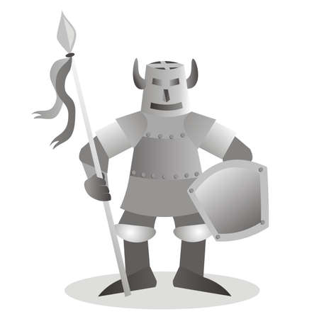 Medieval knight in armor, isolated object, vector illustration 矢量图像