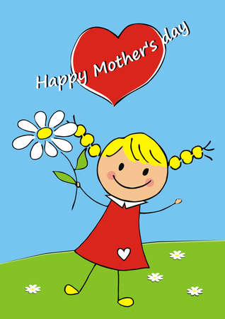 Happy Mother's day, girl with flower and heart, cute vector illustration, blue background