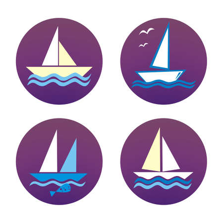 Set of four sailboats at purple circle frame, vector icons