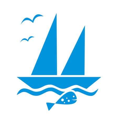 Sailboat and fish and birds, blue silhouette, vector icon