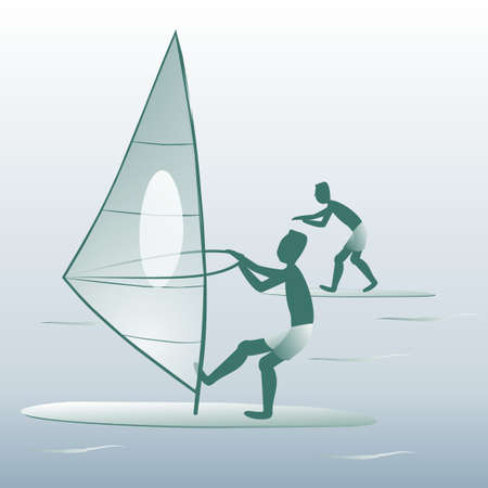 summer sports, windsurfing, banner, two people, vector illustration