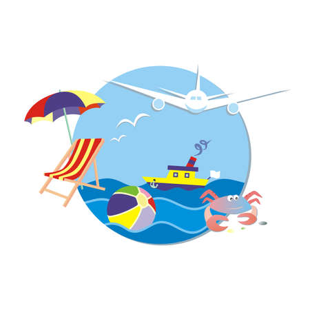 Summer holiday, traveling, banner, airplane, boat, lounger and umbrella with ball and crab, vector illustration. Circle frame, blue background. 矢量图像