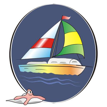 sailboat on oval blue background, starfish, vector illustration
