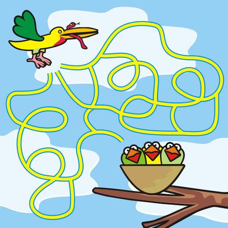 labyrinth, find way to the bird's nest, vector illustration 矢量图像