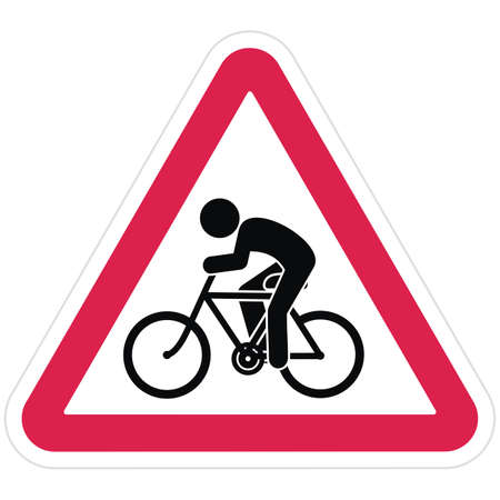 Road sign, cyclist, watch out for cyclists, red triangle frame, vector icon 矢量图像