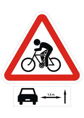 Road sign, keep a safe distance when overtaking cyclists. Vector icon.