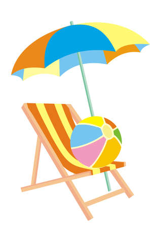 umbrella, lounger and beach ball, colored vector icon on white background