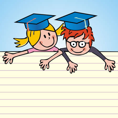 girl and boy, smiling school children with blue graduation caps, funny vector illustration on lined paper, blue background 矢量图像