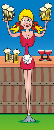 waitress and beer, one woman hold glassfuls, funny vector illustration