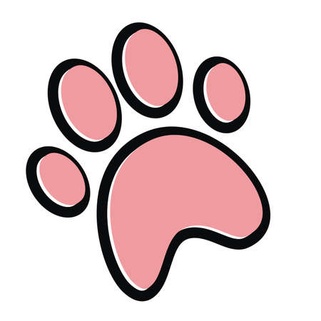 Dog paw print. Paw icon. Vector illustration. Black and pink colors. 矢量图像