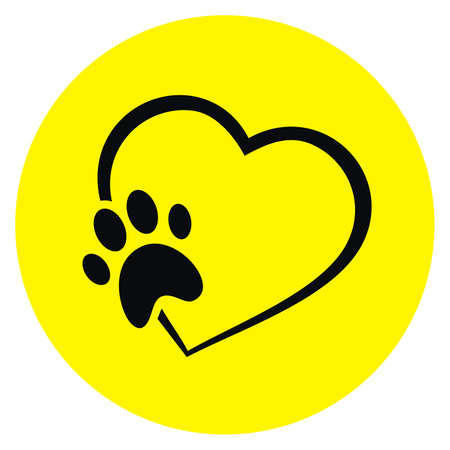 dogs paw and heart, black vector icon at circle yellow frame 矢量图像